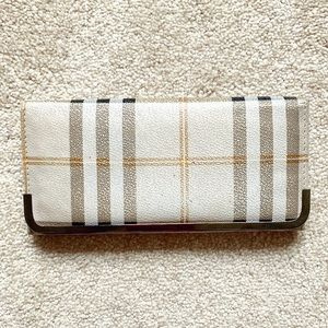 Beige-gray, black & red plaid leather wallet